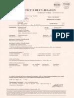 Thermohygrometer Calibration Certificate