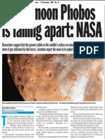 Mars' moon phobos is falling apart:NASA