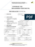 Informe 8 Transformadores Trifasicos Pruebas Cc CA