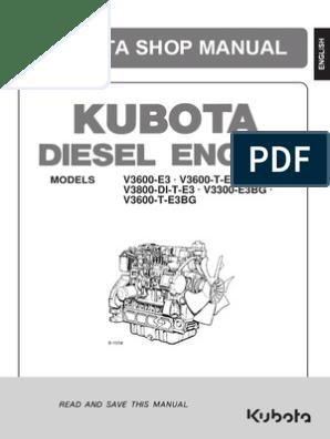 Kubota v3600 Engine Manual | Motor Oil | Battery Charger