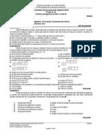 Model de subiecte Chimie Anorganică profil Teoretic Bac 2016
