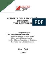 Historia de La Educacion Superior y de Postgrado