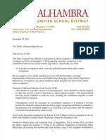 Reform AUSD Williams Uniform Complaint Response (Nov. 2015)