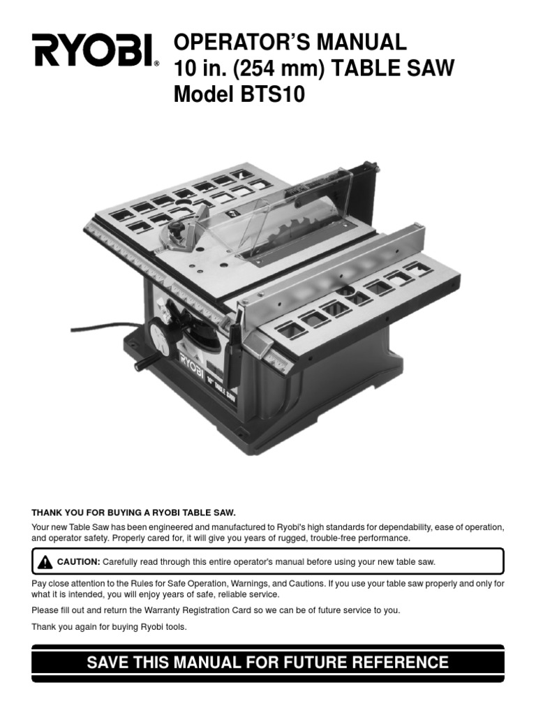 Ryobi bts10 table saw operators manual manufactured goods tools keyboard keysfo Images
