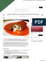 Chiles Rellenos de Queso. Receta Mexicana