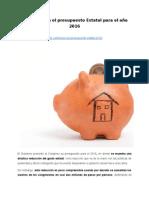 Reducción en el presupuesto Estatal para el año 2016