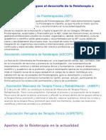 Instituciones Que Ruguen El Desarrollo de La Fisioterapia a Nivel Nacional
