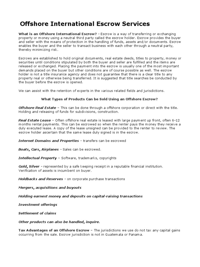 Offshore International Escrow Services Financial Transaction