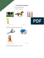 Consciência fonémica - exercícios