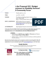 Community Forum - DDS FY11 Budget 04-13-10