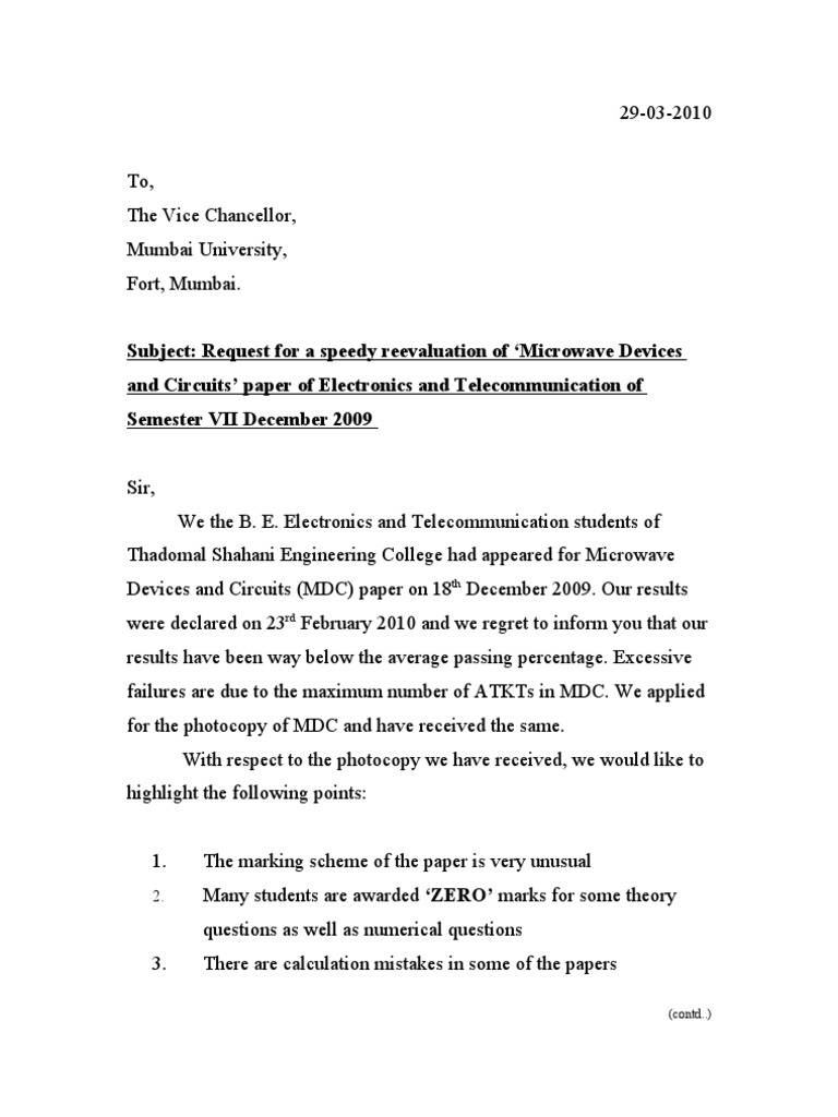 letter for refund of money from college