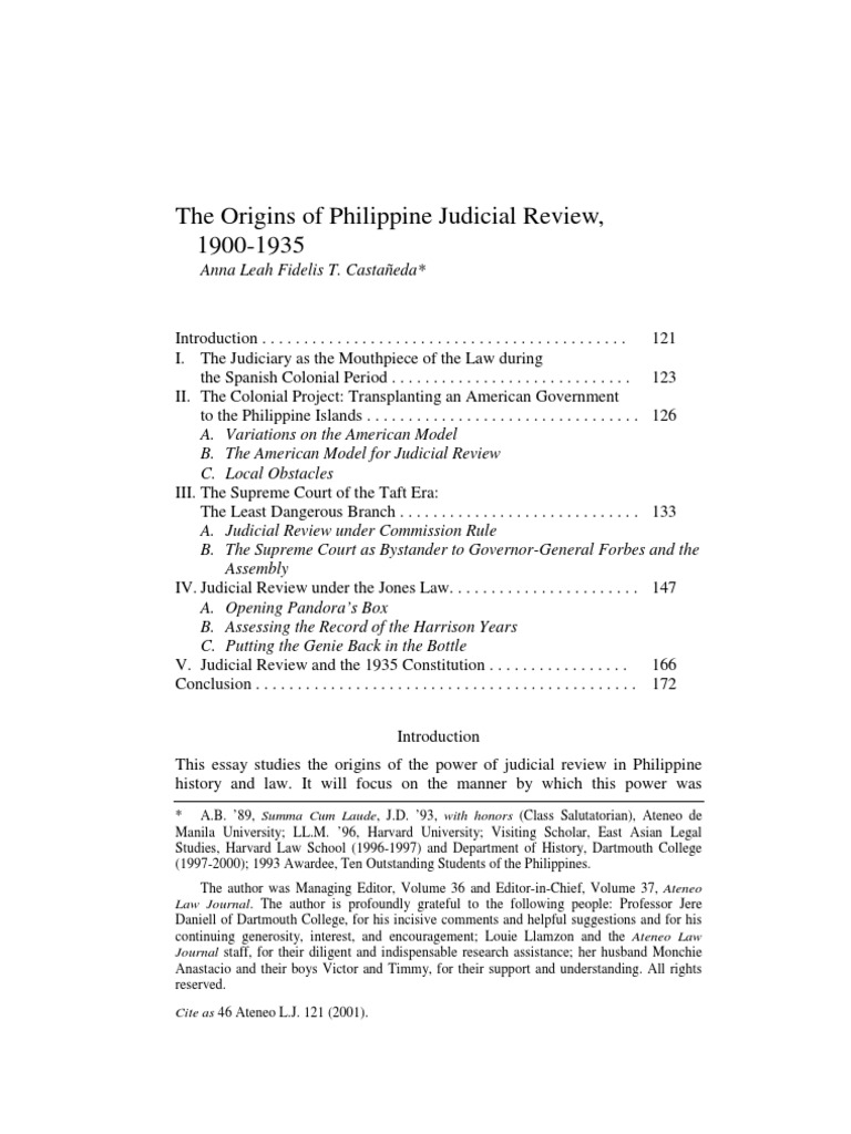 The Origins Of Philippine Judicial Review United States