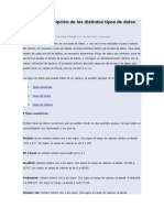 Listado y Descripción de Los Distintos Tipos de Datos de MySQL