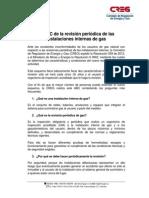 revisión periódica de las instalaciones internas de gas