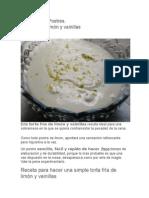 Torta Fría de Limón y Vainillas