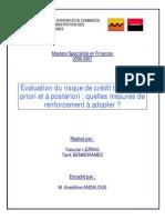 Évaluation Du Risque de Crédit Bancaire à Priori Et à Postériori Quelles Mesures de Renforcement à