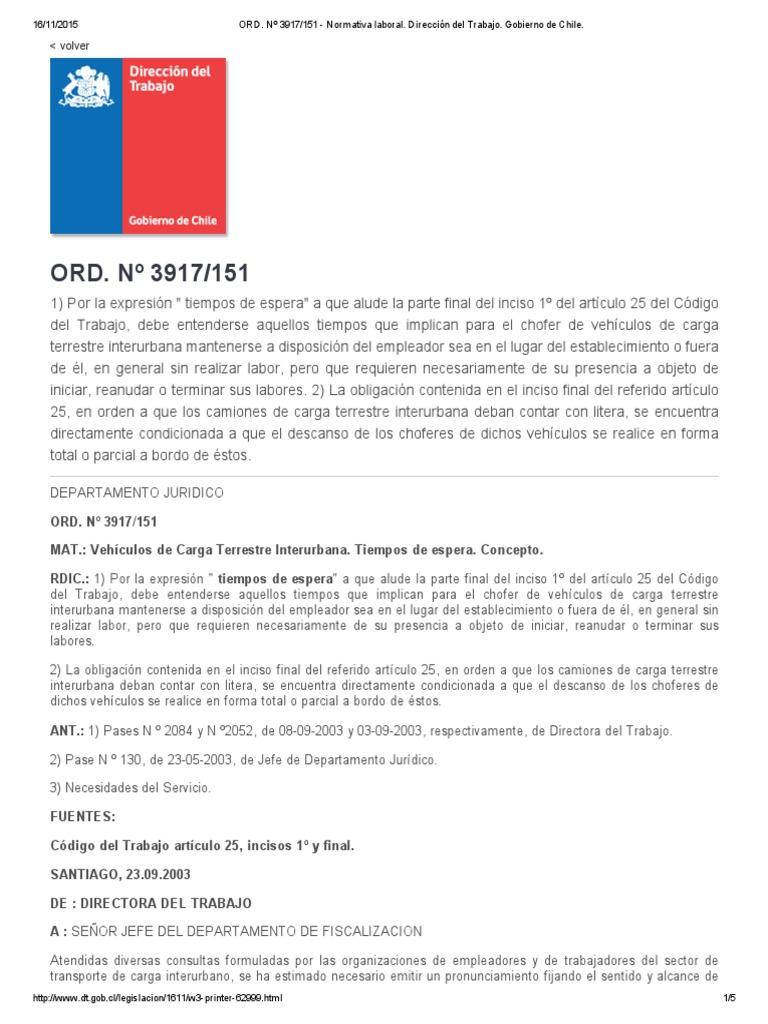 ORD. Nº 3917_151 - Normativa Laboral. Dirección Del Trabajo