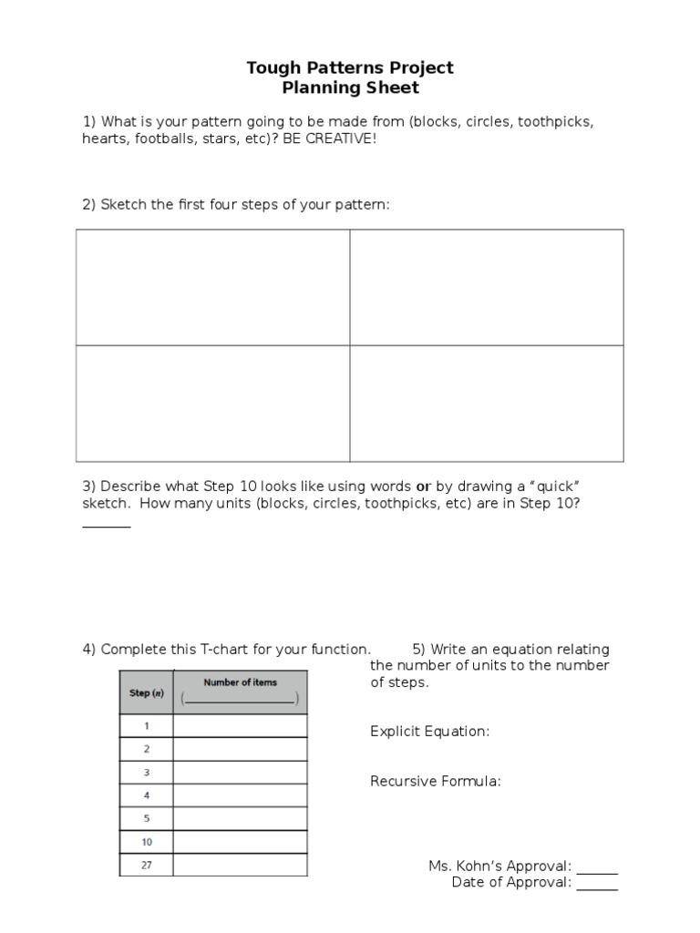 tough patterns project planning sheet