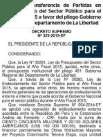 2015 11 16 Mnfgqfdohuvntzmeawxd Autorizan Transferencia de Partidas en el Presupuesto del Sector Público para el Año Fiscal 2015 a favor del pliego Gobierno Regional del Departamento de La Libertad