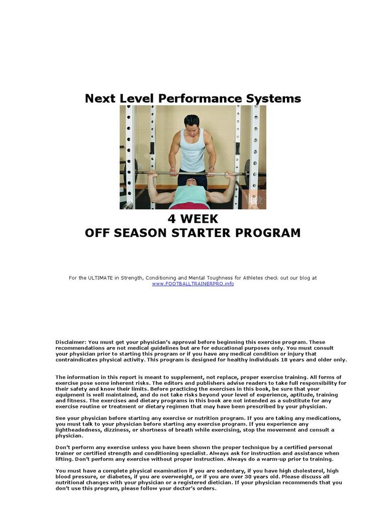 6c81219a8382 Next Level Performance Systems Sample 4 week Off season Football Program