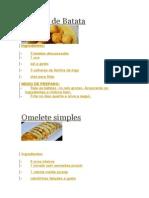 Bolinho de Batata e Omelete simples