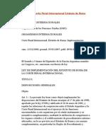 Arg Ley 26200 Instrumenta Corte Penal Internacional Estatuto de Roma
