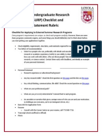 SURP Checklist and Personal Statement Rubric