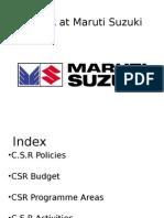 CSR at Maruti Suzuki