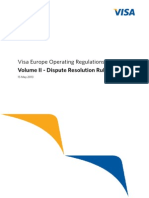 Visa Europe Operating Regulations Volume II - Dispute Resolution Rules, May 2013