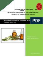 Obtención de aceites esenciales de Pampa Anis