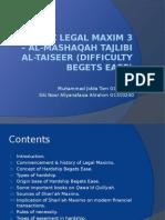 Islamic Legal Maxim 3 – Al-Mashaqah Tajlibi Al-Taise Er (1)