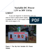 My First Variable DC Power Supply 1-2V to 30V 1A by LM317