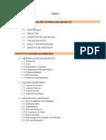 Indice Proyecto de Inversion de Jarabe de Yacon AUTOR HUANILO DIAZ
