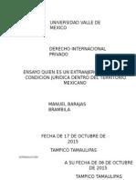 Ensayo Quien Es Un Extranjero y Cual Es Su Condicion Juridica Dentro Del Territorio Mexicano
