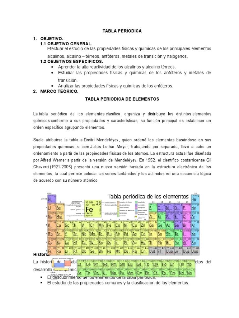 Practica n 1 estudio de la tabla periodica urtaz Images