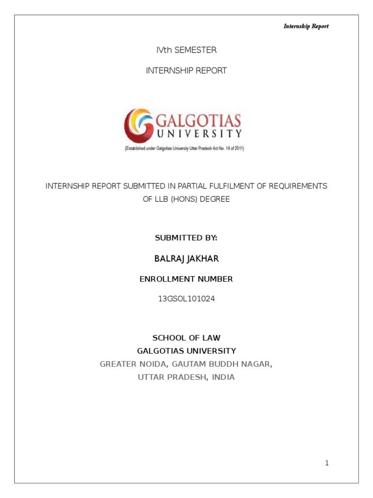 Final Internship Report Format  (1) | Law School | Internship