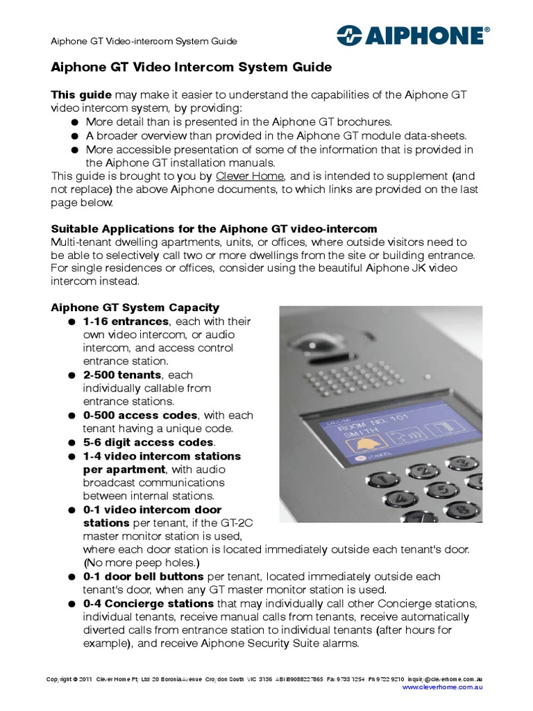 Aiphone Gt Multi Tenant Video Intercom Guide I Phone Switch Wiring Diagram Gf