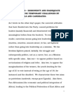 Dishonesty and Inadequate Capaicty in Nrm Primaries by Party Offficials and Candidates 14 November 2015