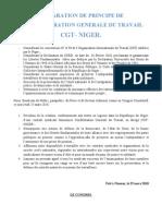 Declaration de Principe de la CGT-NIGER après le congrès du 25 Mars 2010