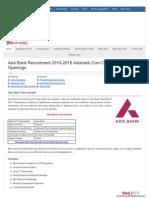 Axis Bank Recruitment 2015