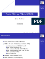 Solving ODEs and PDEs in MATLAB