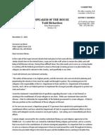 Letter From Speaker Richardson to Gov. Nixon Regarding Syrian Refugees