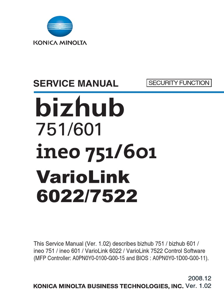 bizhub751_601SecurityFunctionSvcMan | Transport Layer Security | Computer  Network