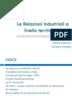 Le Relazioni Industriali a Livello Territoriale