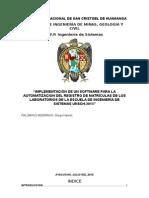 SISTEMA DE MATRICULA PARA LABORATORIOS