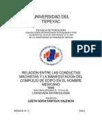 Lizeth Pantoja. Relación Entre Las Conductas Machistas y La Manifestación Del Complejo de Edipo en El Hombre Mexicano