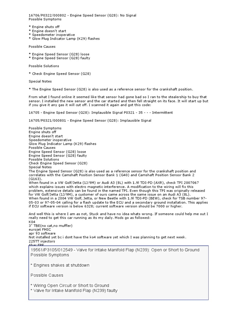 Jetta engine code p0322 | Volkswagen Jetta P0322 Engine Trouble Code