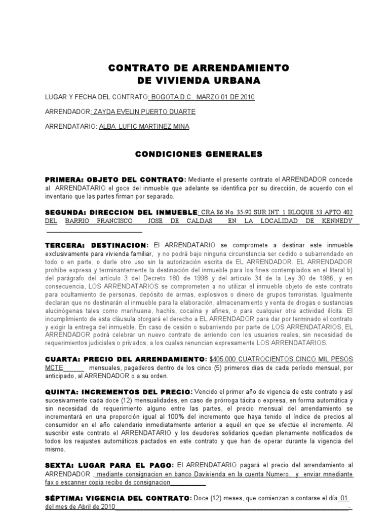Contrato Vivienda Urbana Renting