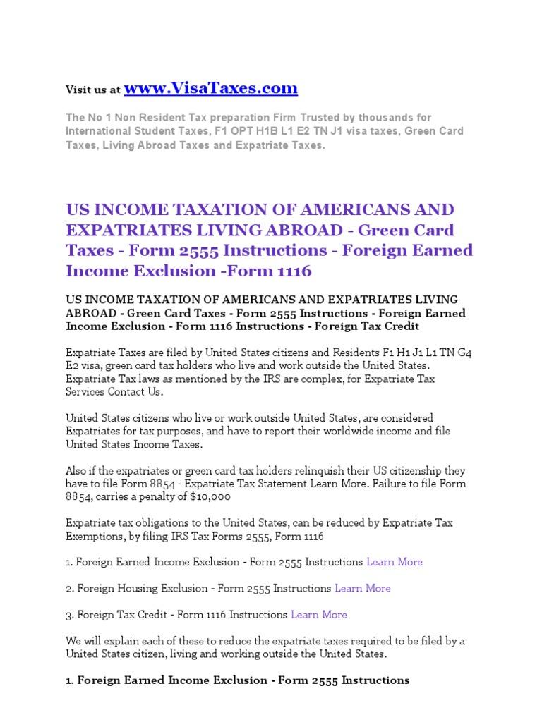 Expatriate Taxation Citizens Living Abroad Taxes | Taxes | Taxation ...