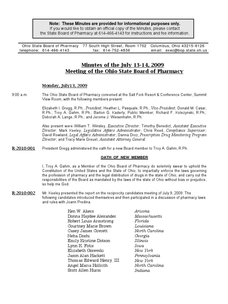 Mins 09071314 Ohio State Board of Pharmacy Minutes, courtesy